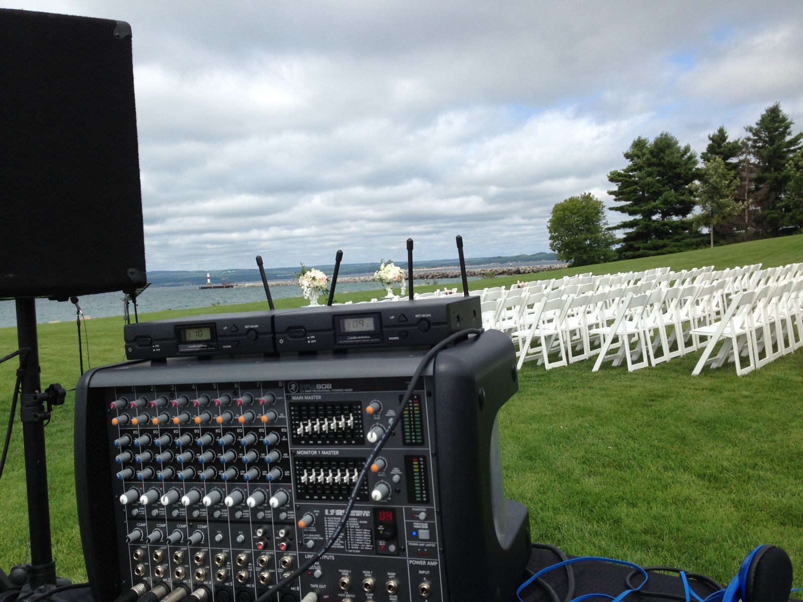Wireless microphones set up in a public park in Petoskey, Michigan
